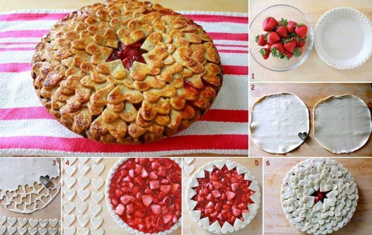 déco:  coeurs  pour tarte aux fraises