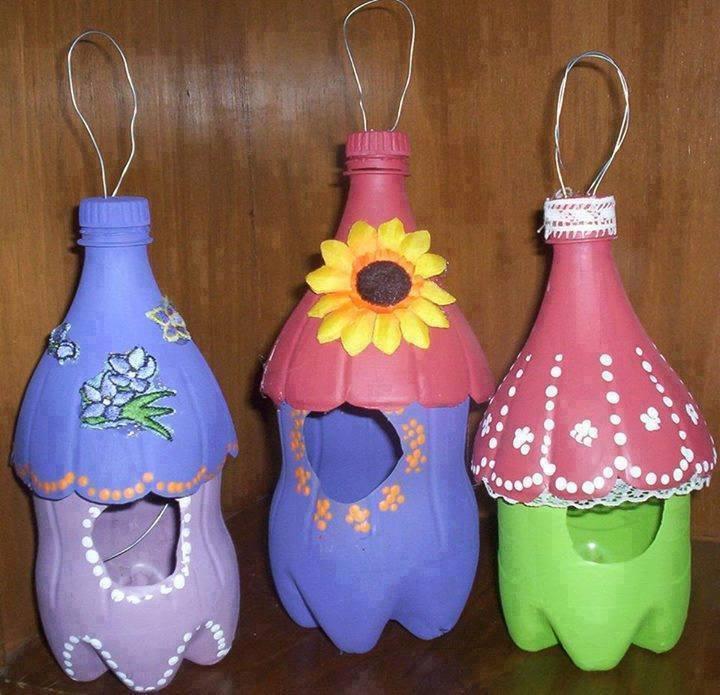 pour cet hiver jolis nichoirs pour oiseaux avec des bouteilles plastiques