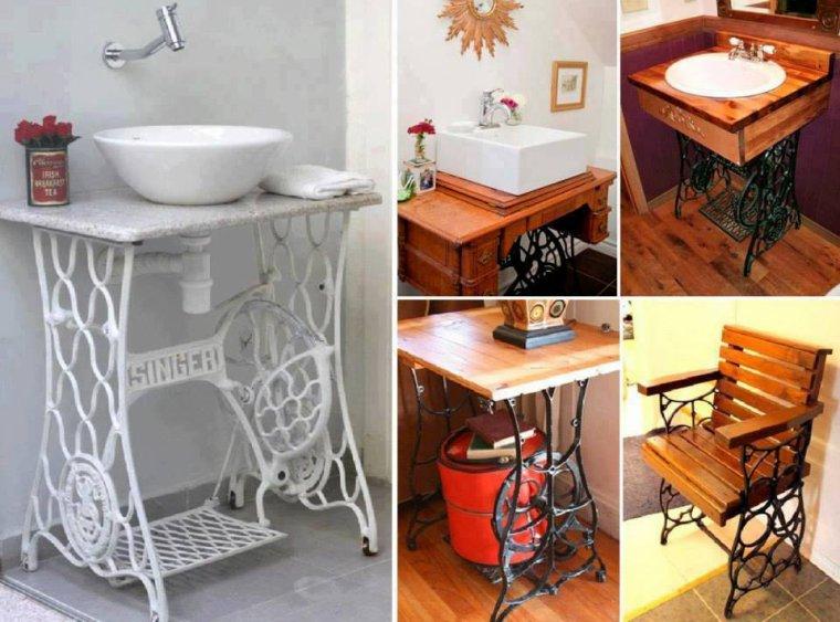 vasques , bureau , chaise avec chassis de machine à coudre singer