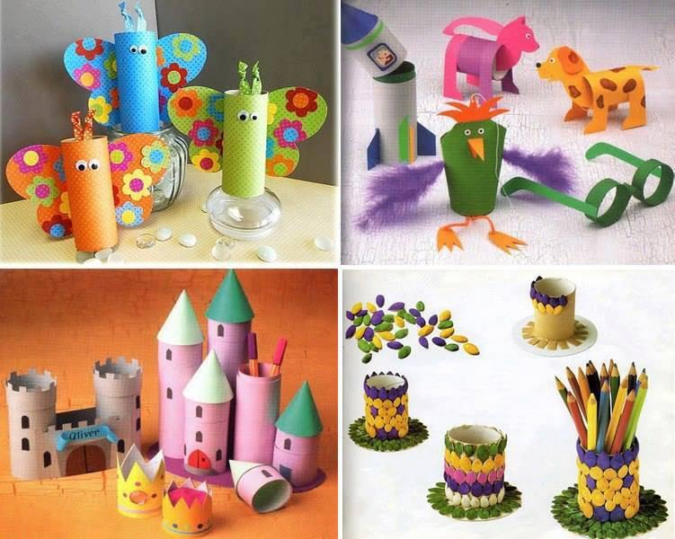 Animaux , chateau ...et porte crayons avec des rouleaux de papier wc