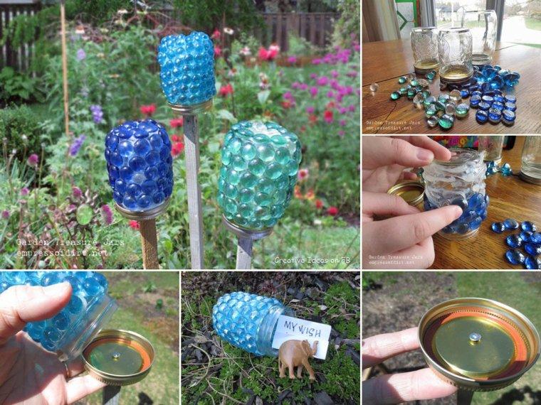 recyclage de conserves en verre et cailloux en verre en lanterne