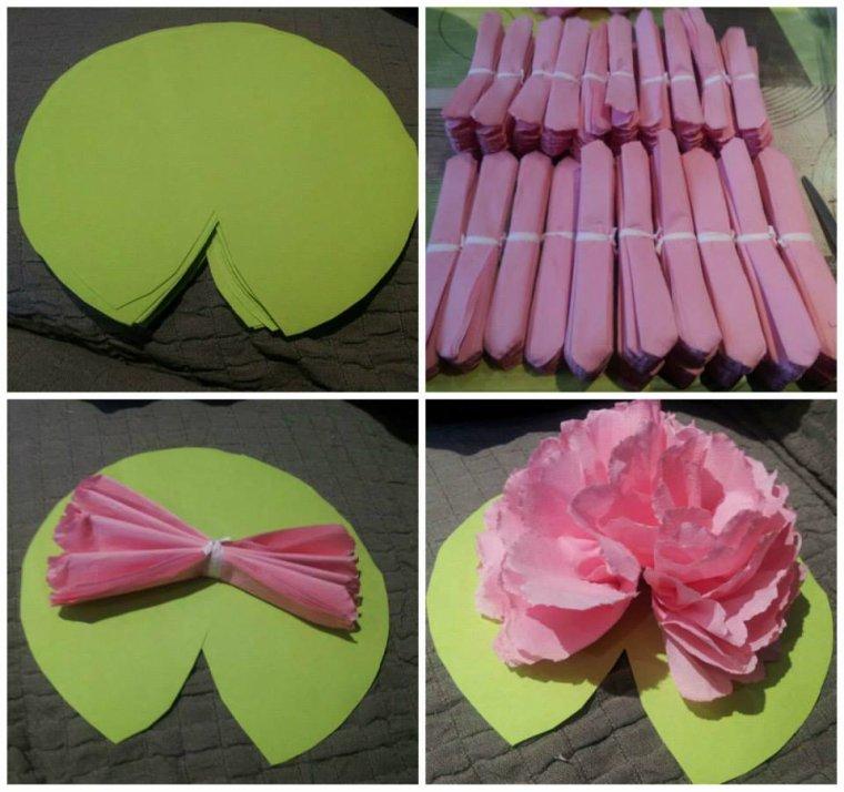Une idée de décoration de table : fleurs de Lotus et oeillets