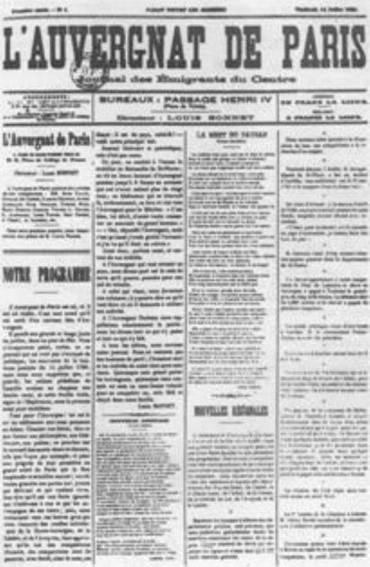 HISTOIRE DE L'AUVERGNAT DE PARIS  le journal