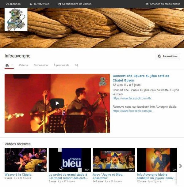 retrouver Info Auvergne blabla sur youtube