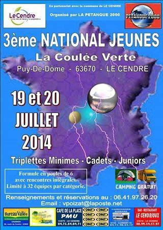 3ème national Jeunes de la coulée Verte. Pétanque 2000 par poules en triplettes Juniors