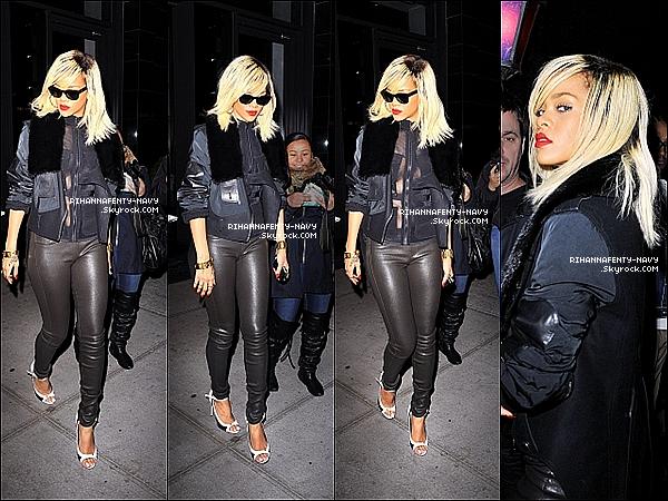 16/03/12 Rihanna a été aperçue quittant son hôtel à New-York.. Top ou flop ?                                                                                                                                                             Les photos sont de mauvaises qualités malheuresement.
