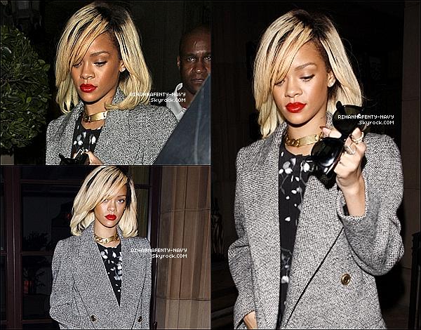 """19/03/12 : Rihanna a été aperçue se rendant au restaurant """"Scarpetta"""" à Los Angeles puis elle est allée avec des amis au """"Colony Club"""". Top ou flop ?                                                                                                                                                             Coup de coeur pour sa combinaison qui lui va à merveille ♥"""