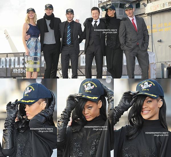 """02/04/12 : Rihanna était a la conférence de presse pour faire la promotion du film """"Battleship"""" a Yokosuka au Japon."""