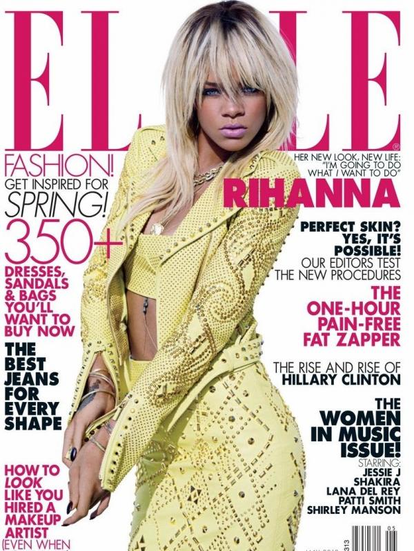 """Découvrez la couverture de Rihanna pour le magazine """"ELLE"""" U.S édition mai 2012."""