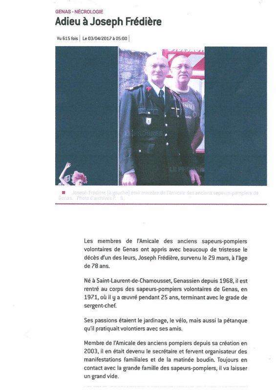 N°  -  133 -    NECROLOGIE  -  SERGENT CHEF  J FREDIERE