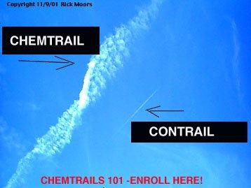 les chemtrails: épandage de produits chimiques volontairement.