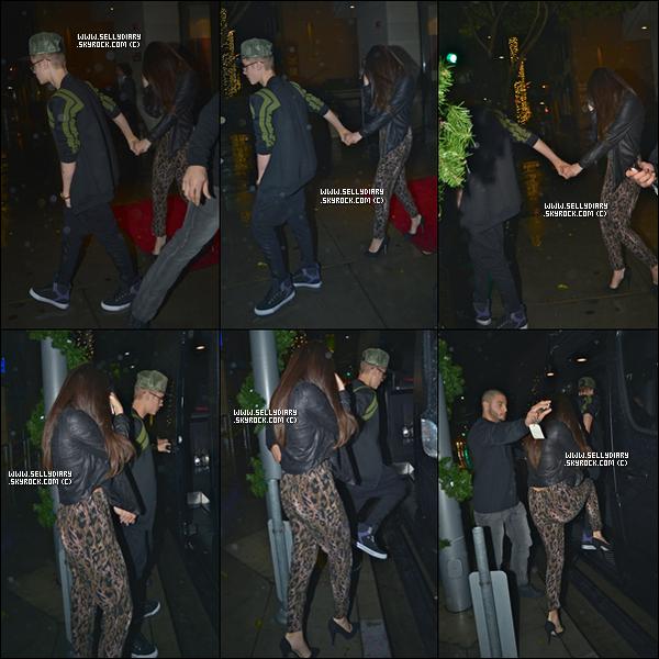 . . 02.12.12 :  Selena  a été vue en compagnie de Justin entrain de quitter le restaurant « Steakhouse Wolfgang » à Los Angeles.  . .