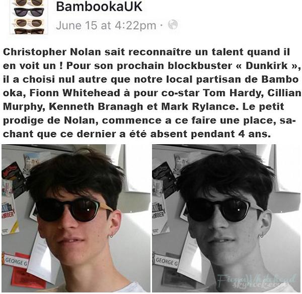 BAMBOOKAUK a posté une photo de Fionn Whitehead sur Facebook ! Aww il est cute, il fait son acteur hollywoodien la, la photo a été prise le 15 Juin mais elle n'apparaît que maintenant.