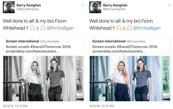 Barry a mentionné Fionn sur un tweet ! J'aime bien l'amitié entre les acteurs je trouve ça chouette ce partage !