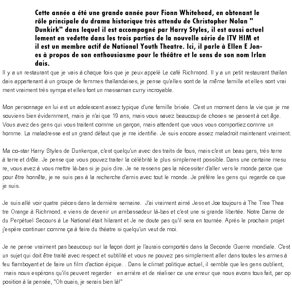INTERVIEW DE FIONN WHITEHEAD