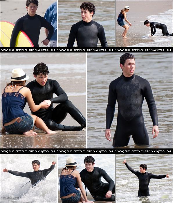 + 01.03.2010 | Nick a tourné sur une plage de Malibu une scène avec Nicole Anderson pour JONAS : +