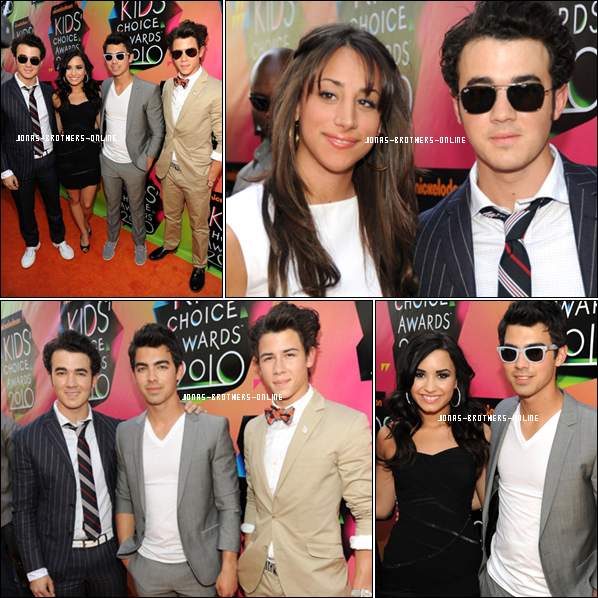 _ 27.03.2010 | Photos des JB, Demi & Danielle arrivant sur le tapis orange des Kids Choice Awards_: