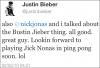 "→ 13.12.2012 | Nick a joué au ""ping ping"" avec Justin Bieber :"