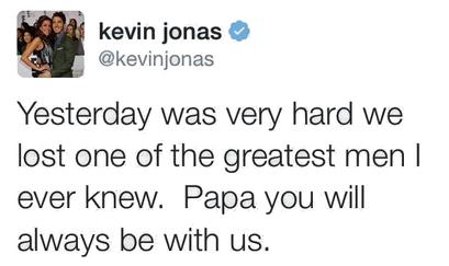 _ 28.01.2014 | Le grand-père maternel des Jonas, Jerry Miller, est décédé des suites de son cancer. RIP. :_