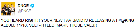_ 14.09.2016 | Le 1er album de DNCE sortira le 18 novembre prochain! Voici la couverture :_