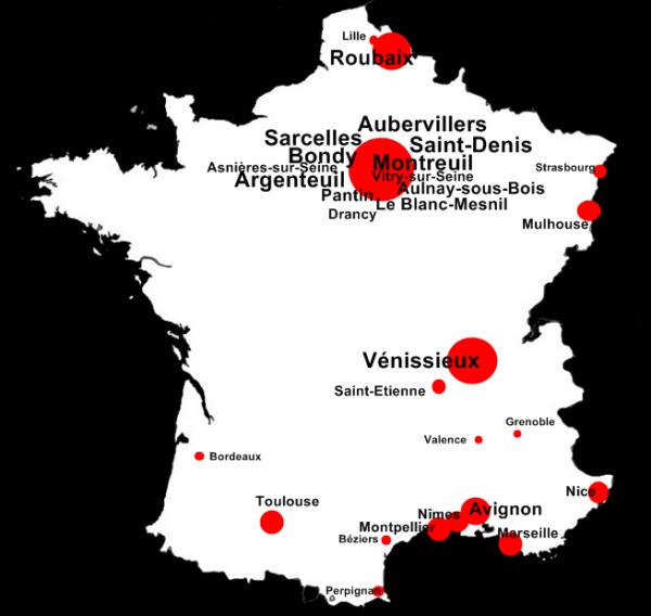Les villes avec le plus de Maghrébins en France©
