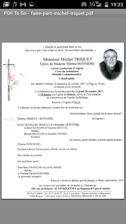 Faire part de Michel Triquet