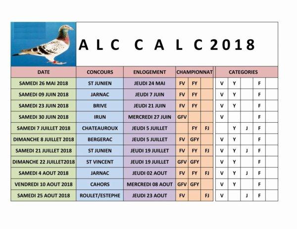Le programme 2018 des concours du CALC