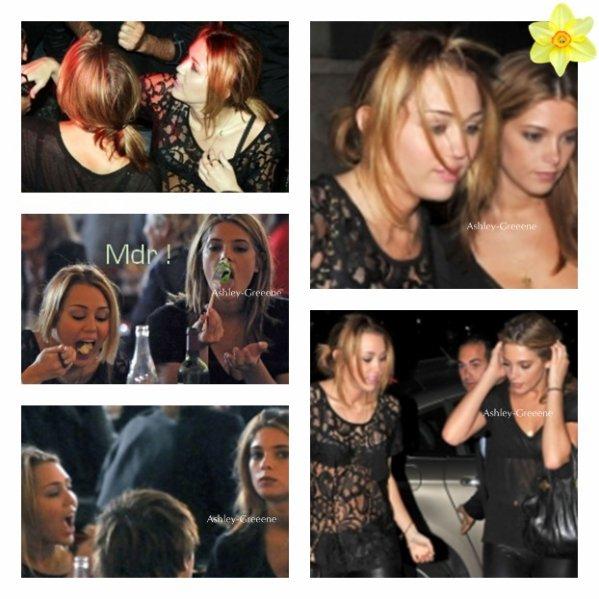 5 Septembre > Ashley et Miley au restaurant et allant faire la fête.