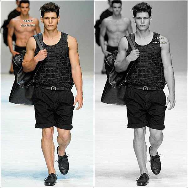 . Sam défilant pour la collection Dolce & Gabbana S/S 2012 à la FW de Milan. .