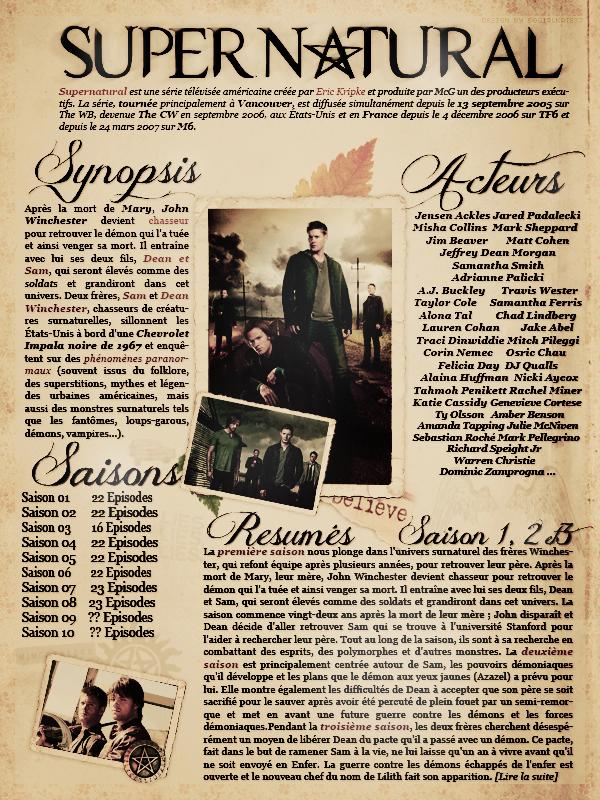 """::Supernatural""""La Serie"""" ©Tout Plagiat est Interdit Merci de respecté mon travail _Création_ :: _Décoration_ :: _Newsletter_ :: _Sommaire_ :: _50girlkate37_"""