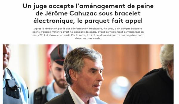 Un juge accepte l'aménagement de peine de Jérôme Cahuzac sous bracelet électronique, le parquet fait appel