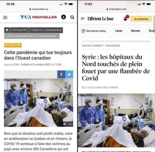 Les hôpitaux canadiens et syriens sont parfaitement identiques! Les mêmes soignants , le même matériel, et même les patients sont identiques! ??
