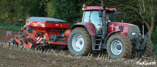 Semi de blé 2010 avec Case CVX 140 et Kuhn SpeedLiner EC3000.