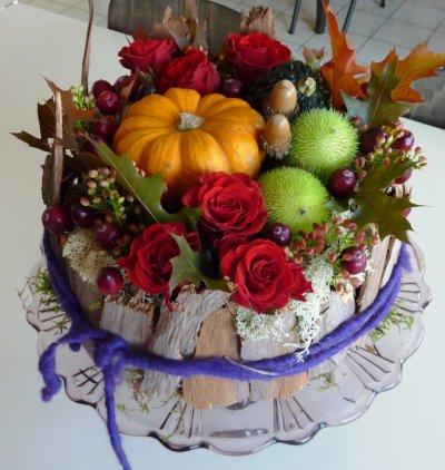 """Cours d'art floral """" Tarte d'Automne"""" Samedi 30/10/2010"""