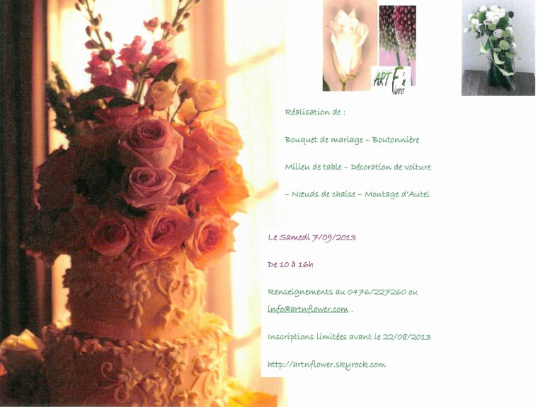 """FORMATION SPECIALE """" MARIAGE"""" SEPTEMBRE 2013"""