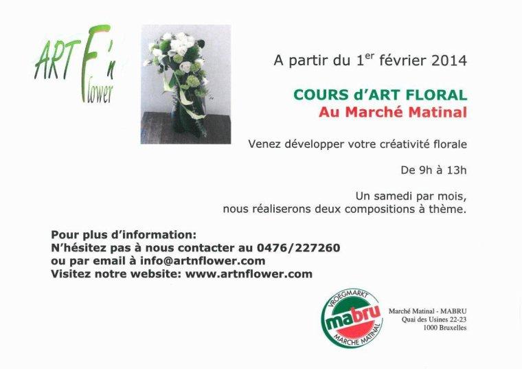 NOUVEAUTÉ 2014!! COURS D'ART FLORAL AU MARCHE MATINAL DE BRUXELLES!!