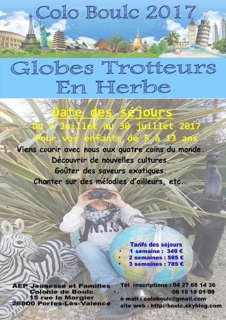 Globe trotteurs en herbe - Pubs et inscriptions 2017