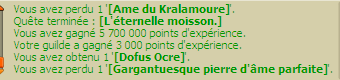 Dernière étape de la quête Ocre + up 200 du féca !