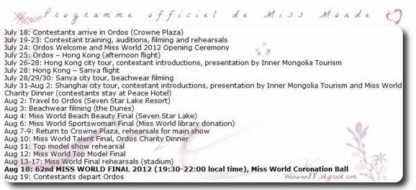 Miss Monde 2012 !