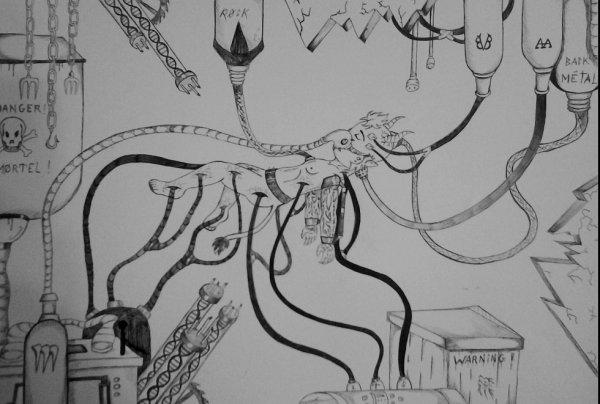 mon dessin pour mon cours de Formes , Espaces Matières :$