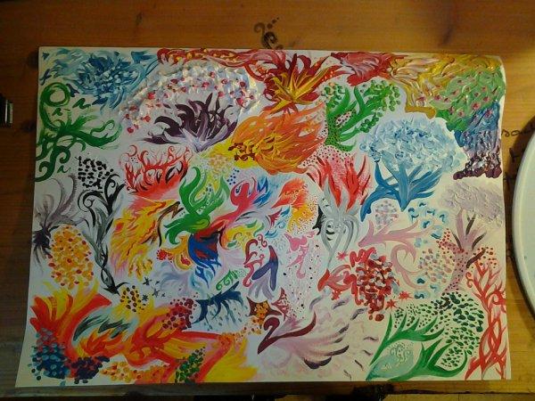 enfin terminer ! :) Assemblage de formes abstraites en couleurs ! des avis ? Merci :$ N'hésitez pas à allez sur ma page facebook : Flo ces dessins & ces histoires Noires . Merci à vous!