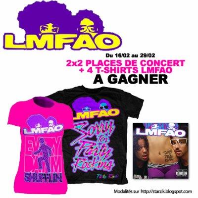 Gagnez 2x2 Places de Concert et 4 T-Shirts LMFAO !