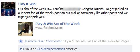 ELUE FAN DE LA SEMAINE PAR PLAY&WIN SUR FACEBOOK !!!