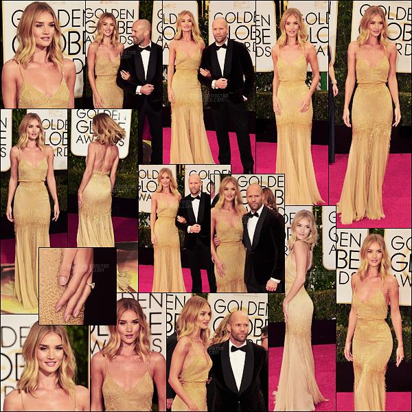 10/01/16 - Rosie H. et Jason Statham étaient à la 73e cérémonie des Golden Globes à Beverly Hills. Rosie était plus belle que jamais dans sa robe Atelier Versace. Sourire aux lèvres, je trouve sa tenue très élégante. Qu'en pensez-vous?