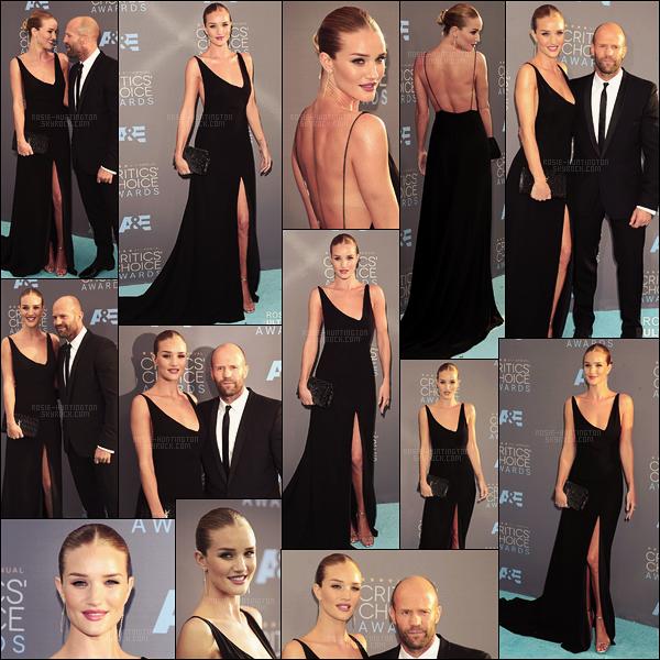 17/01/16 - Rosie et Jason Statham étaient à la cérémonie des Critics' Choice Awards  à Santa Monica. Au bras de son fiancé, Rosie abordait un large sourire et une longue robe noire fendue Saint Laurent. J'aime beaucoup sa tenue, et vous?