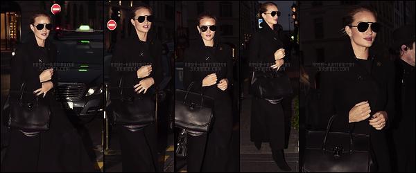 22/01/16 - Tout de noir vêtue, Rosie Huntington a été vue arrivant à l'aéroport LAX de Los Angeles. Le lendemain au soir, Rosie H.W. est arrivée à l'hôtel « Four Seasons George V » dans la capitale française pour la fashion week 2016