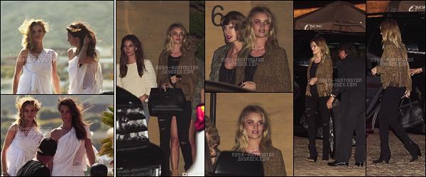 11/04/16 - Rosie Huntington était sur le set d'un photoshoot avec Lily Aldridge - dans Los Angeles. Rosie était, le soir, à l'anniversaire de sa copine Alessandra Ambrosio. D'autres célébrités comme Lily A. ou Taylor S. étaient présentes.