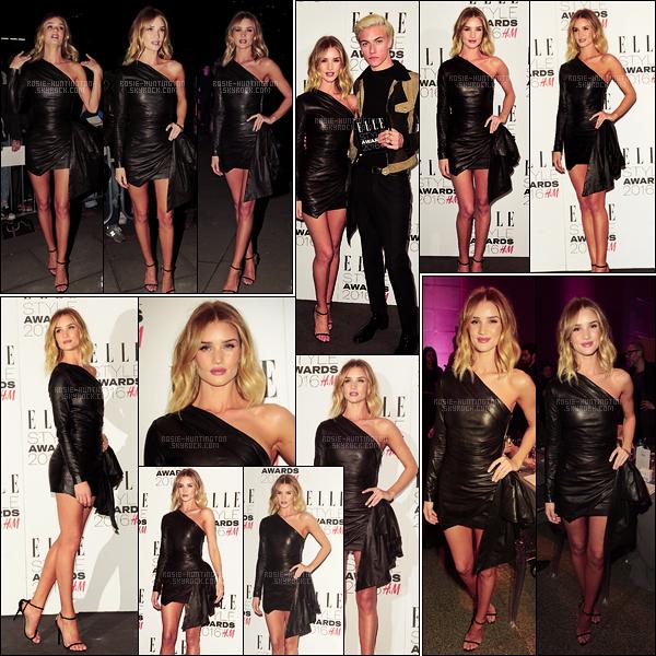 23/02/16 - Rosie Huntington était à la soirée Elle Style Awards avec Lucky Blue Smith dans Londres. C'est dans une robe noire moulante très sexy que Rosie s'est rendue à cet événement. Sourire aux lèvres, je la trouve vraiment rayonnante !