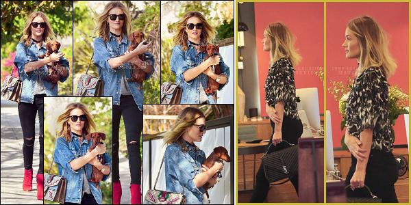 17/02/16 - Rosie Huntington et sa petite teckel ont été vue allant déjeuner dans la ville de Los Angeles Le 16/02, Rosie est allée faire du shopping dans le quartier de West Hollywood. J'adore son sac YSL ainsi que son chemisier ! Beau top.