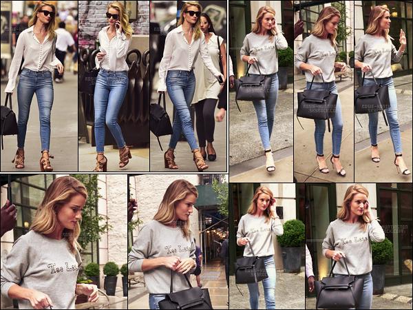 07/06/16 - Dans la journée, Rosie Huntington a été photographiée quittant son hôtel dans New York. Le lendemain, R.HW a été revue le quittant pour se rendre à une place inconnue. Deux tenues assez similaires mais les deux sont top...